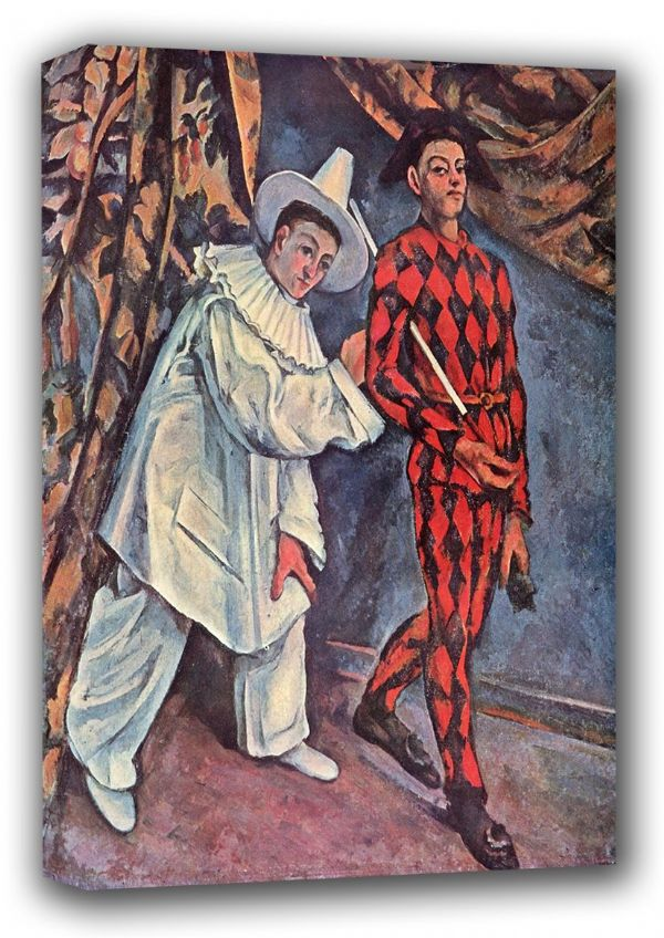 Cezanne, Paul: Pierrot and Harlequin (Mardi Gras Carnival), 1888. Fine Art Canvas. Sizes: A3/A2/A1 (001020)
